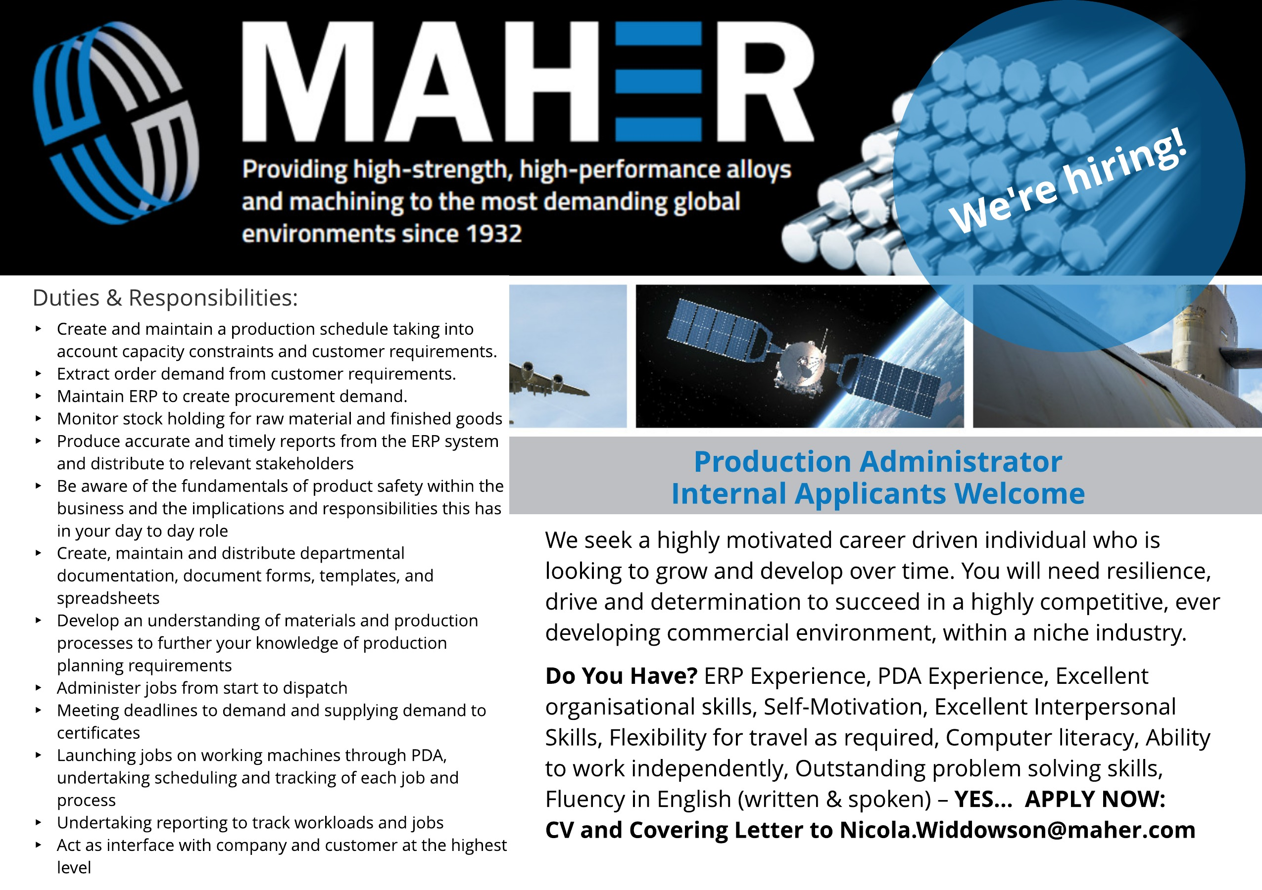 VACANCY - Production Administrator